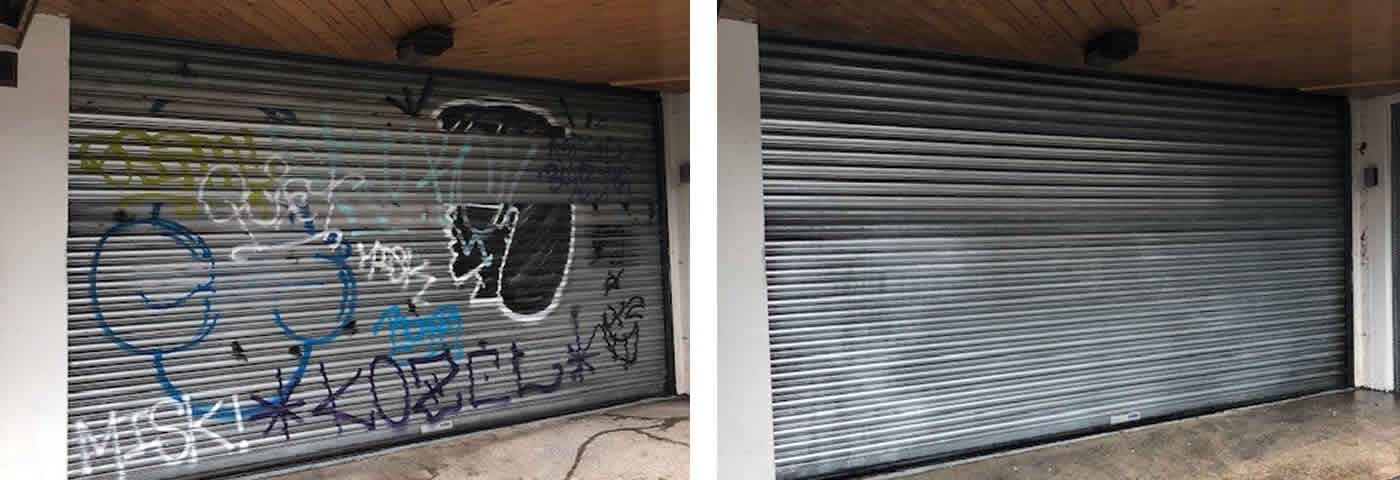 Graffiti removal in Sheffield and Chesterfield by Advanced Mobile Blast & Chemical Cleaning